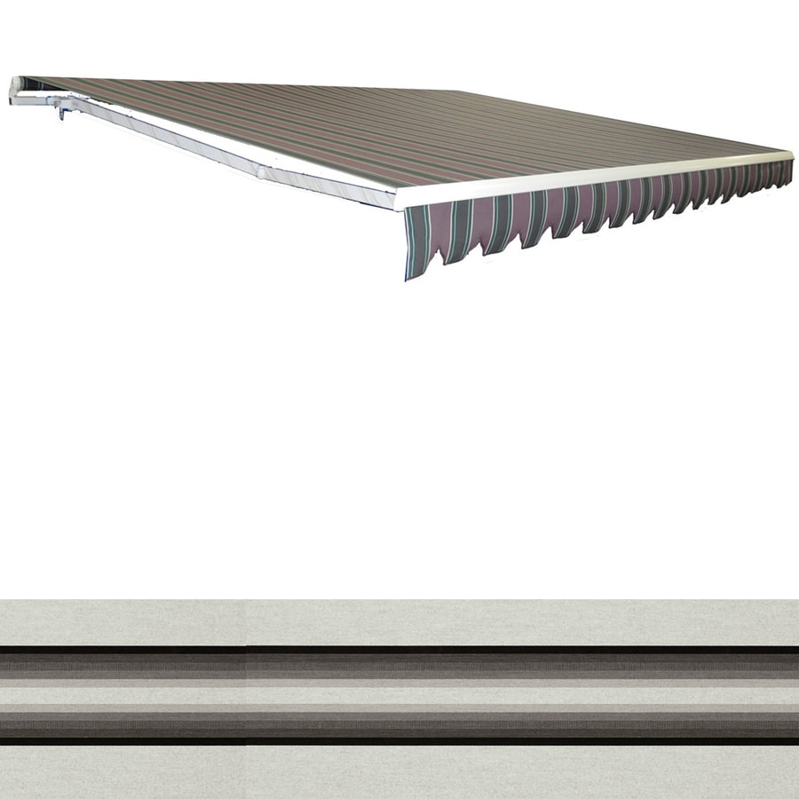 Americana Building Products 238-in Wide x 96-in Projection Sunbrella 4799- Grey Stripe Slope Patio Retractable Manual Awning