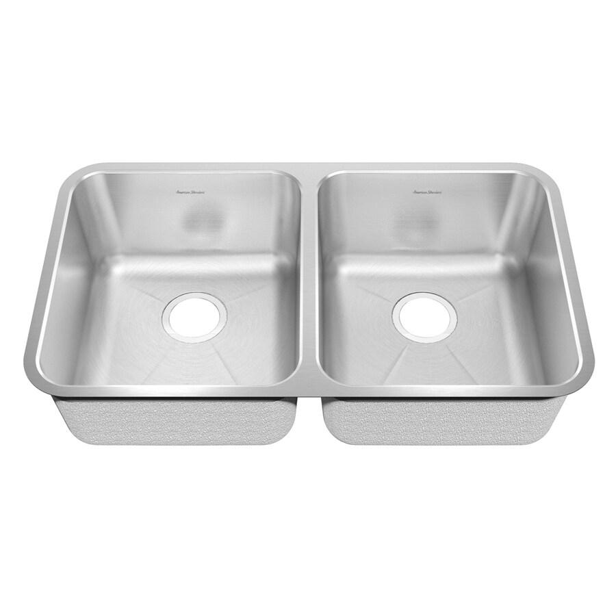 American Standard Prevoir 26-in x 38-in Radiant Silk Double-Basin Stainless Steel Undermount Residential Kitchen Sink