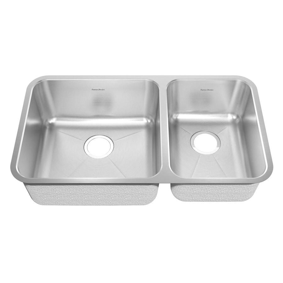 American Standard Prevoir 37.75-in x 25.3125-in Radiant Silk Double-Basin Stainless Steel Undermount Residential Kitchen Sink