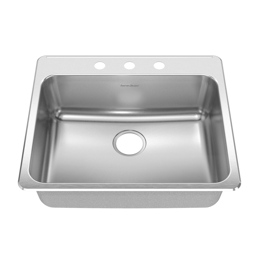 American Standard Prevoir 27.75-in x 23.625-in Radiant Silk Single-Basin Stainless Steel Drop-In Kitchen Sink