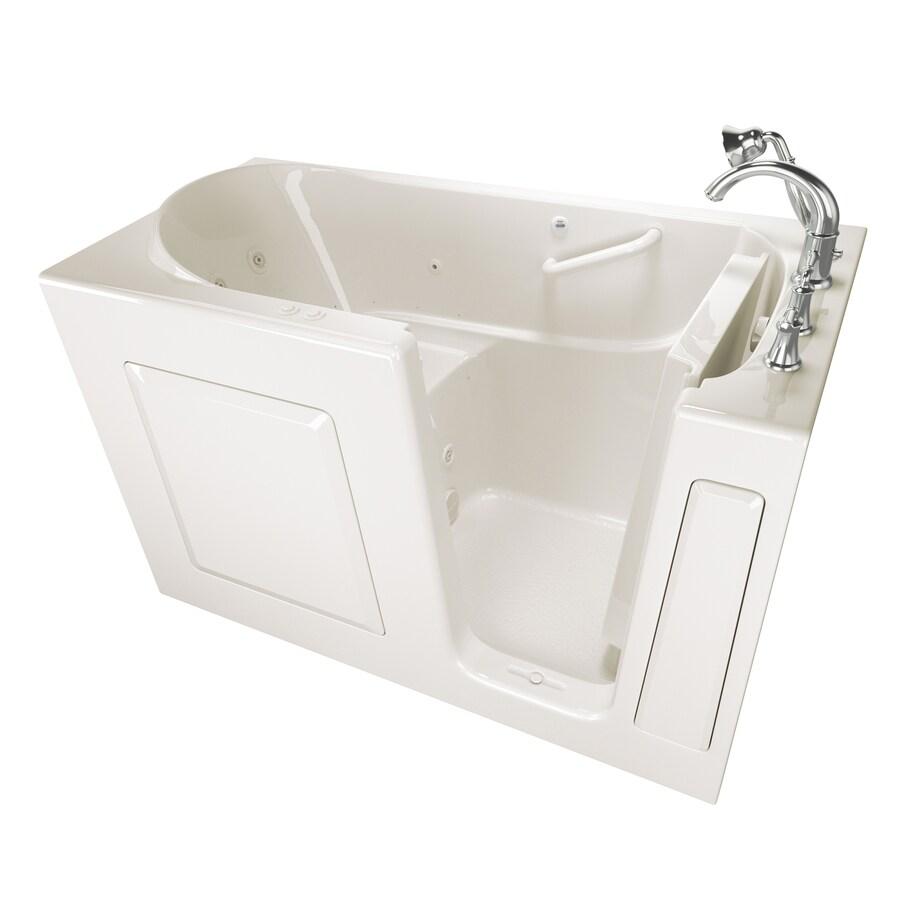 American Standard 59-in L x 30-in W x 37-in H Linen Gelcoat and Fiberglass Rectangular Walk-in Whirlpool Tub and Air Bath