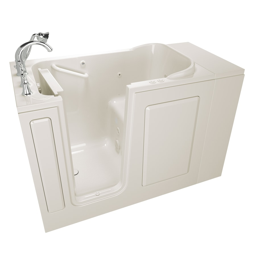 American Standard 48-in L x 28-in W x 37-in H Linen Gelcoat and Fiberglass Rectangular Walk-in Whirlpool Tub and Air Bath