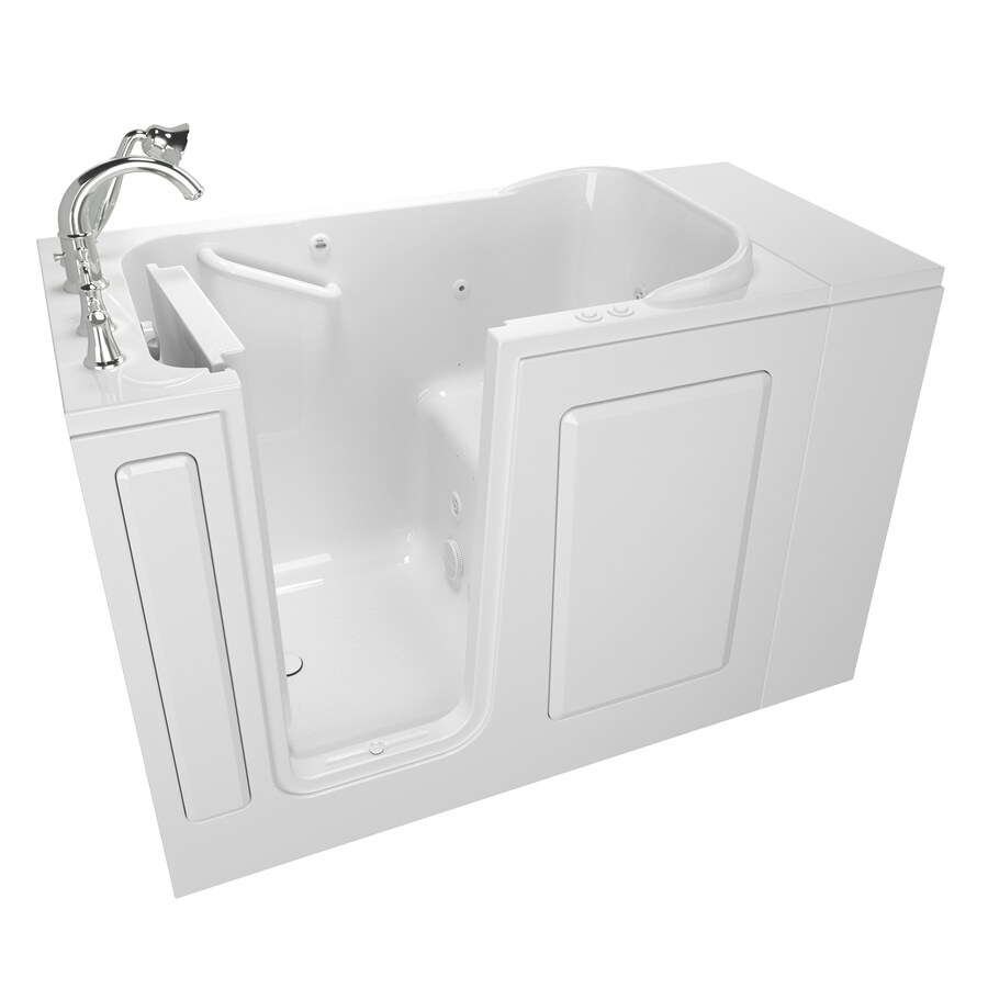 American Standard 48-in L x 28-in W x 37-in H White Gelcoat and Fiberglass Rectangular Walk-in Whirlpool Tub and Air Bath
