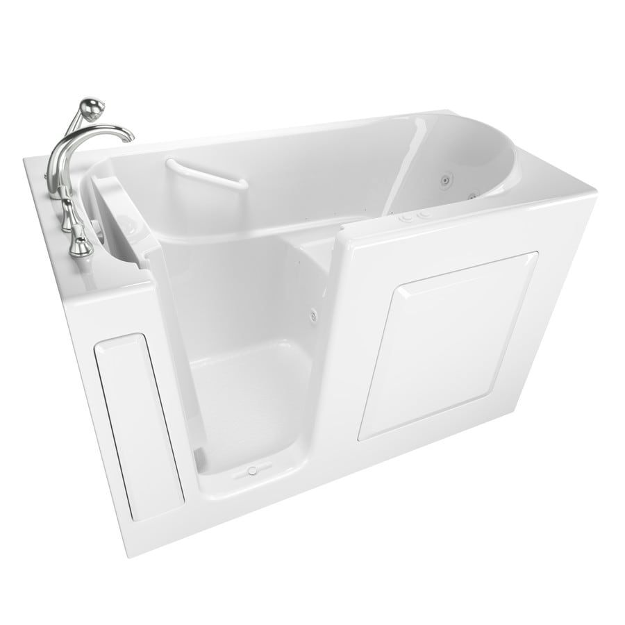 Safety Tubs 59-in L x 30-in W x 37-in H White Gelcoat and Fiberglass Rectangular Walk-in Whirlpool Tub and Air Bath