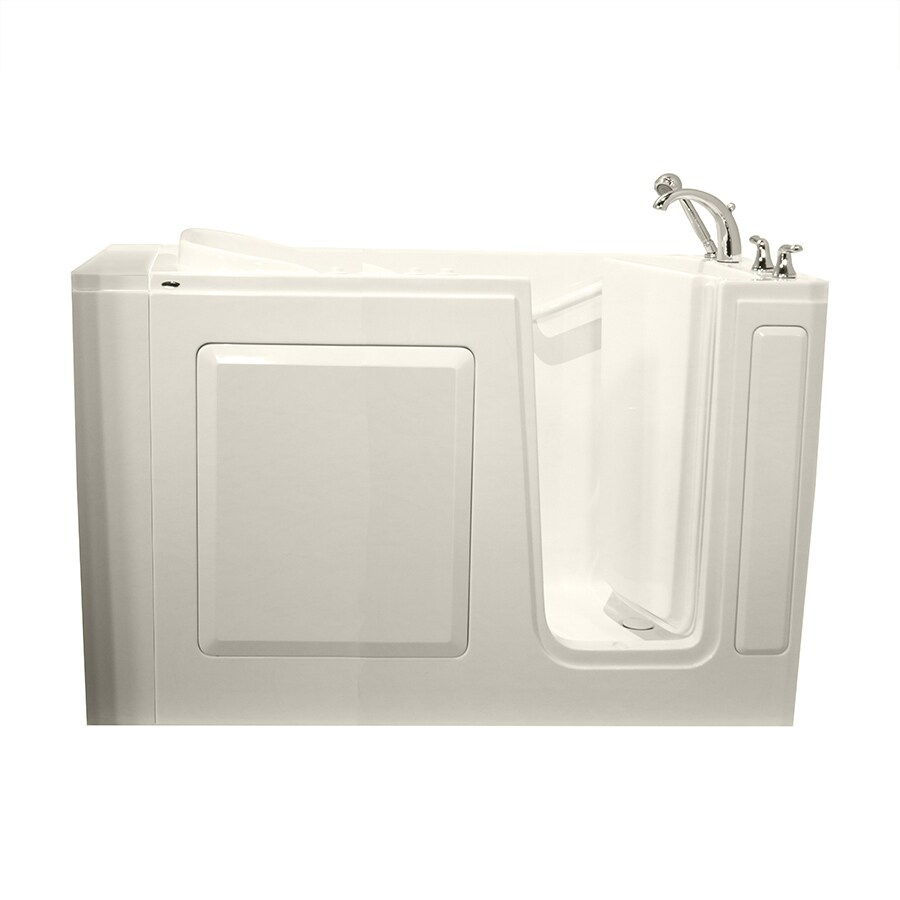 Safety Tubs 50-in L x 30-in W x 37-in H Biscuit Gelcoat and Fiberglass Rectangular Walk-in Whirlpool Tub and Air Bath