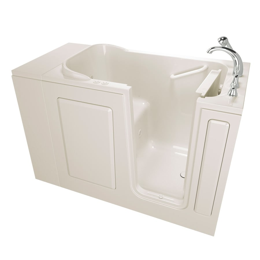 Safety Tubs 48-in L x 28-in W x 37-in H Biscuit Gelcoat and Fiberglass Rectangular Walk-in Whirlpool Tub and Air Bath