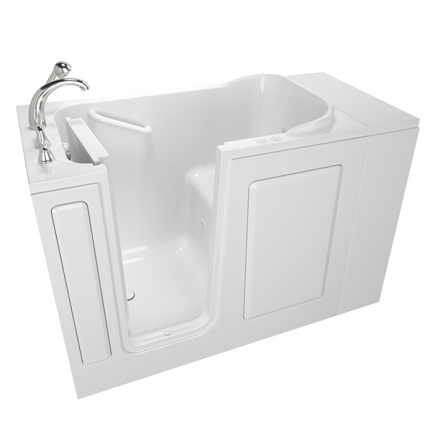 Safety Tubs 48-in L x 28-in W x 37-in H White Gelcoat and Fiberglass Rectangular Walk-in Whirlpool Tub and Air Bath