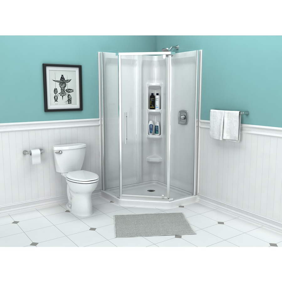 American Standard Axis 50.86-in W x 73-1/4-in H Silver Neo-Angle Shower Door