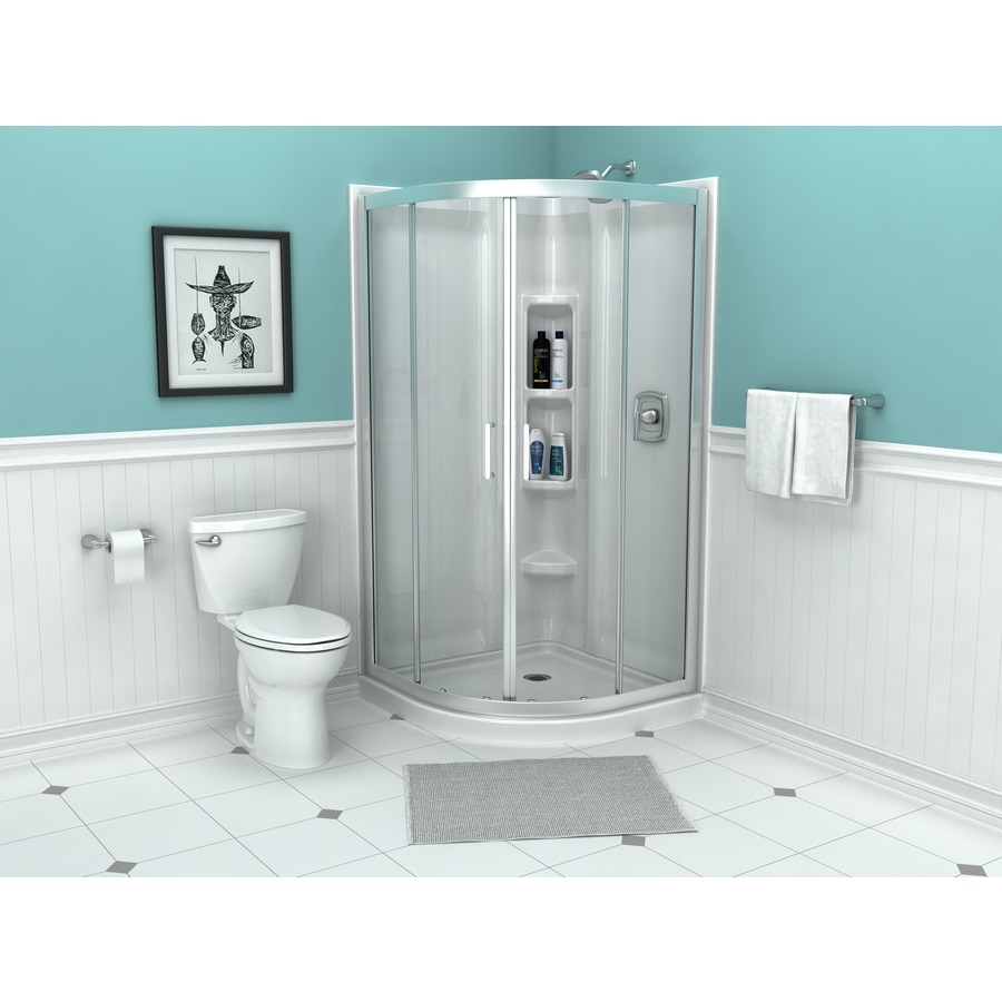 Shop American Standard Axis W X 72 In H Silver Neo Angle Shower Door At