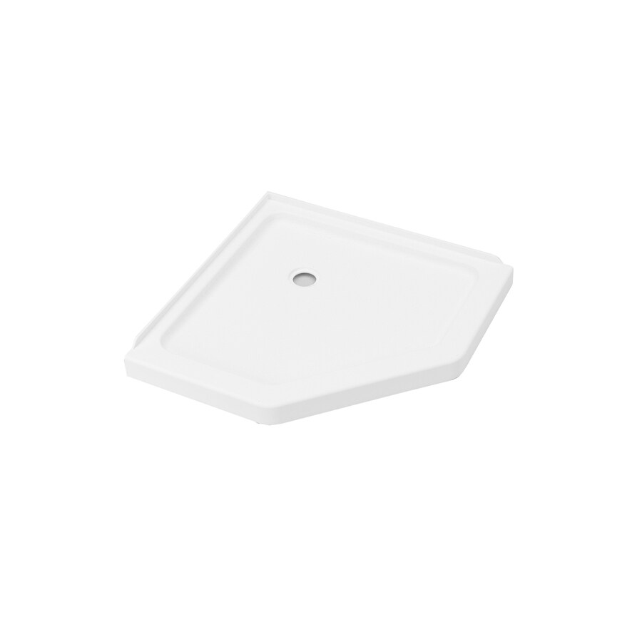 Axis 38-in L x 38-in W White Acrylic Neo-Angle Corner Shower Base Product Photo
