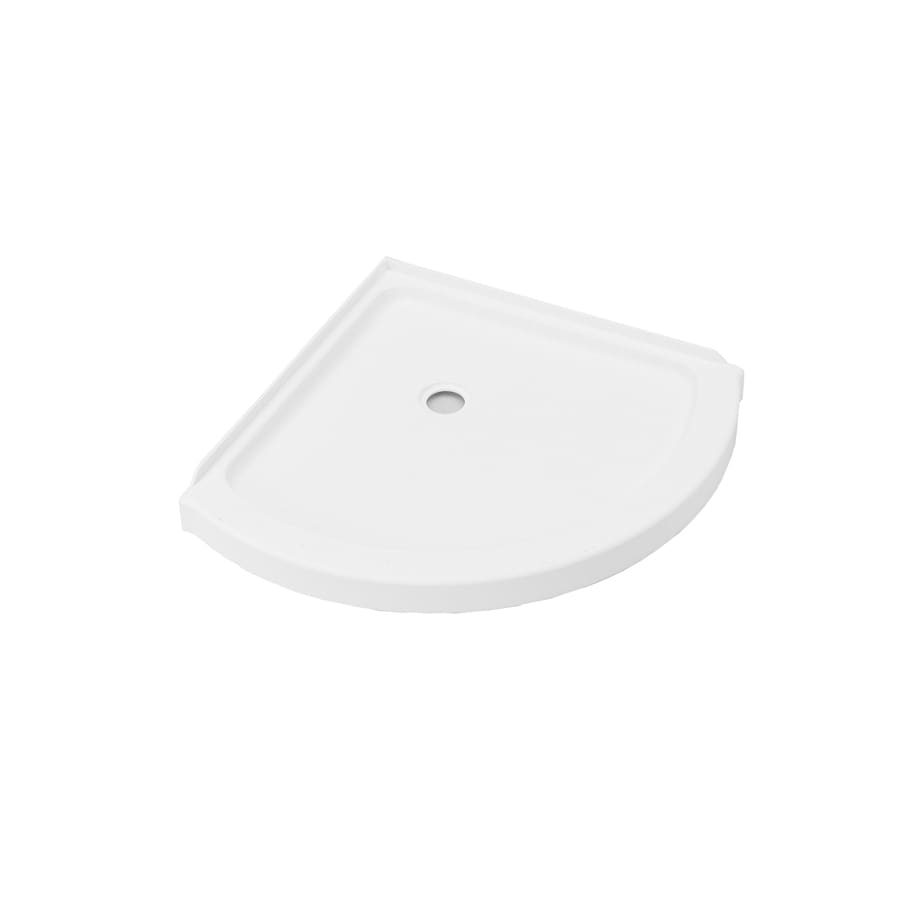 Axis 36-in L x 36-in W White Acrylic Round Corner Shower Base Product Photo