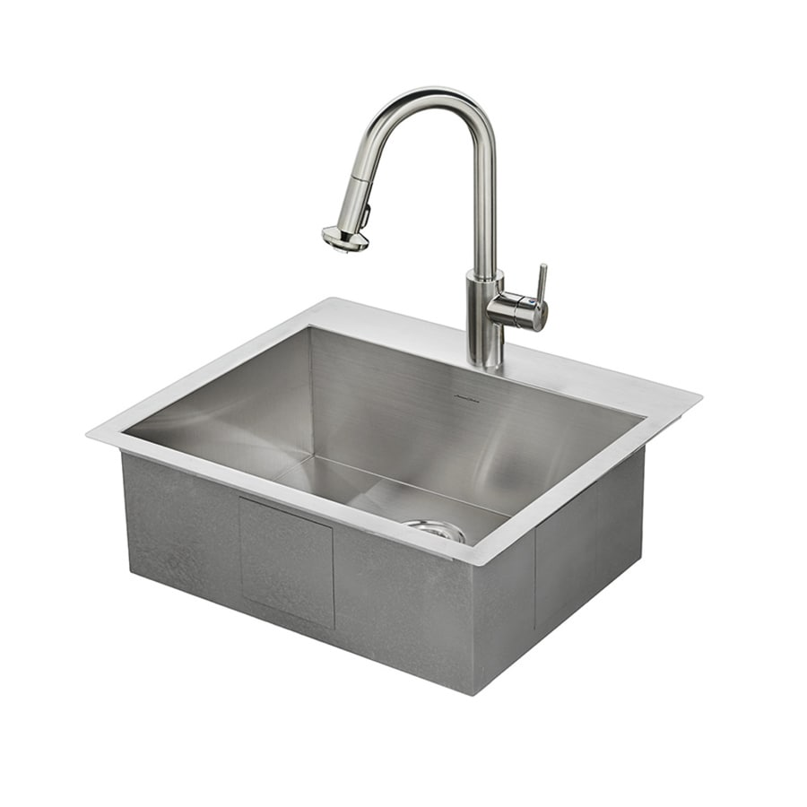 American Standard Memphis 25-in x 22-in Stainless Steel Single-Basin Drop-in or Undermount 1-Hole Residential Kitchen Sink All-In-One Kit