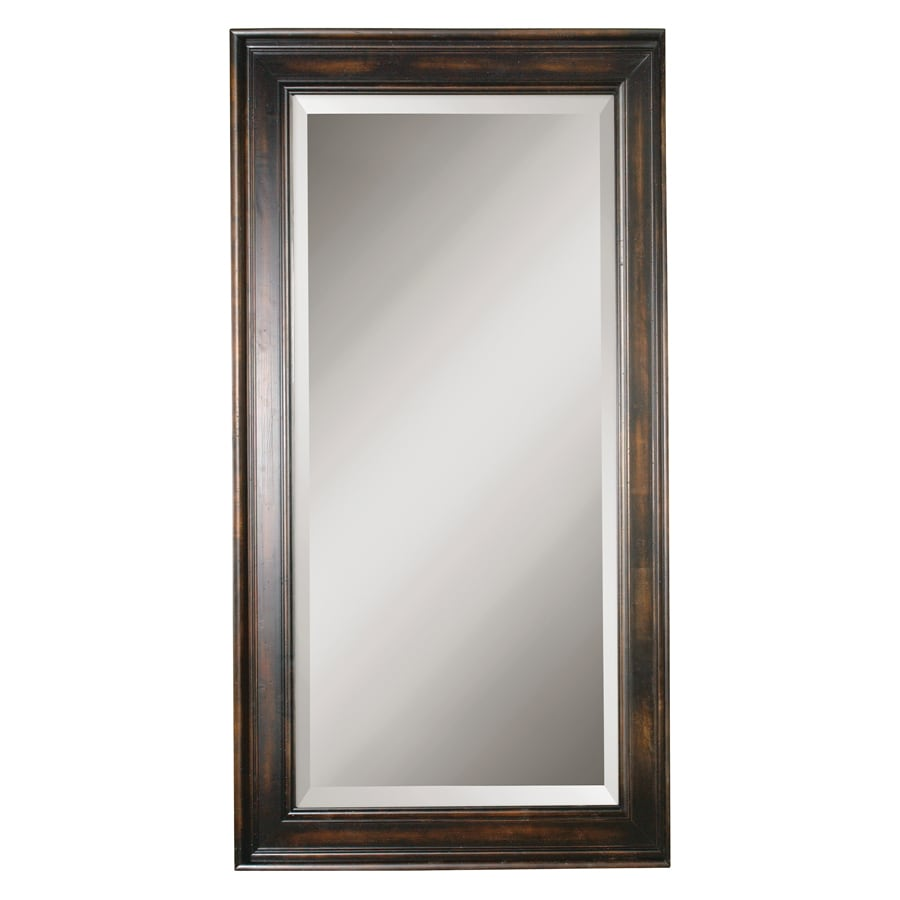 Global Direct 40-in x 70-in Heavily Distressed Black Stain Beveled Rectangle Framed French Wall Mirror