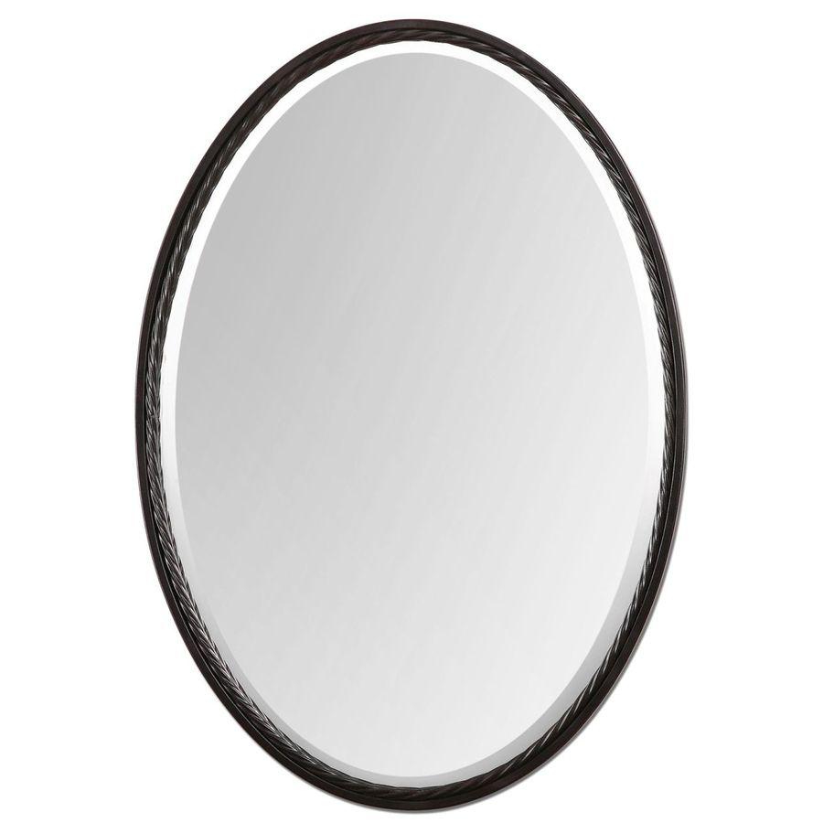 Global Direct 22-in x 32-in Bronze Beveled Oval Framed French Wall Mirror