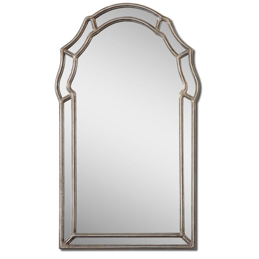 Global Direct 21-in x 35-in Silver Leaf Polished Arch Framed French Wall Mirror
