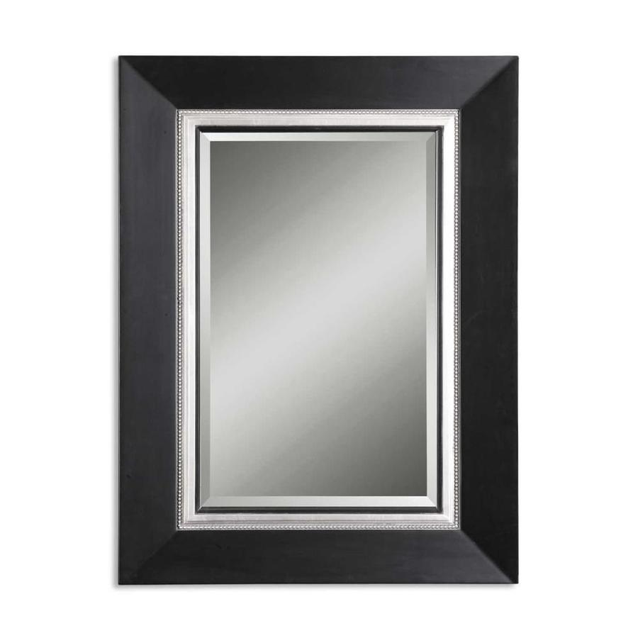 Global Direct 40-in x 54-in Matte Black with Silver and Black Inner Lip Beveled Rectangle Framed French Wall Mirror