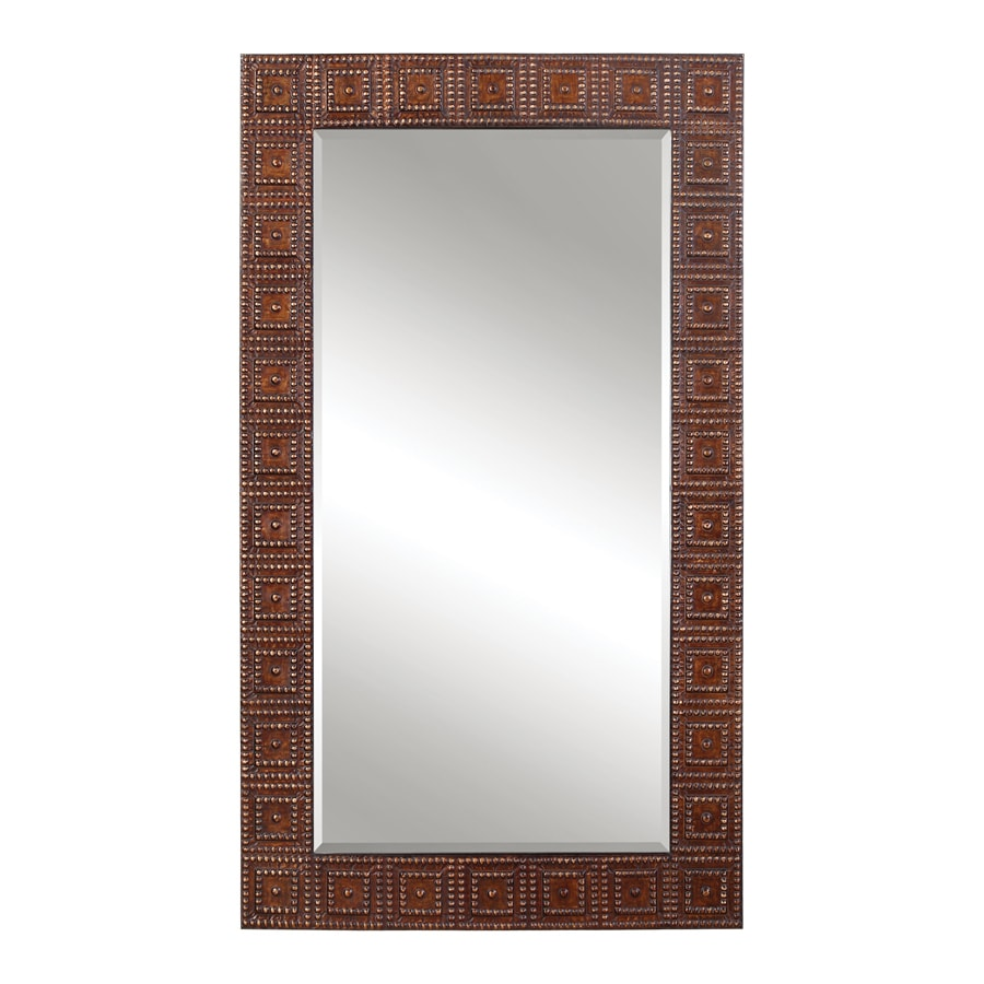 Global Direct 41.25-in x 71-in Copper Bronze Beveled Rectangle Framed French Wall Mirror