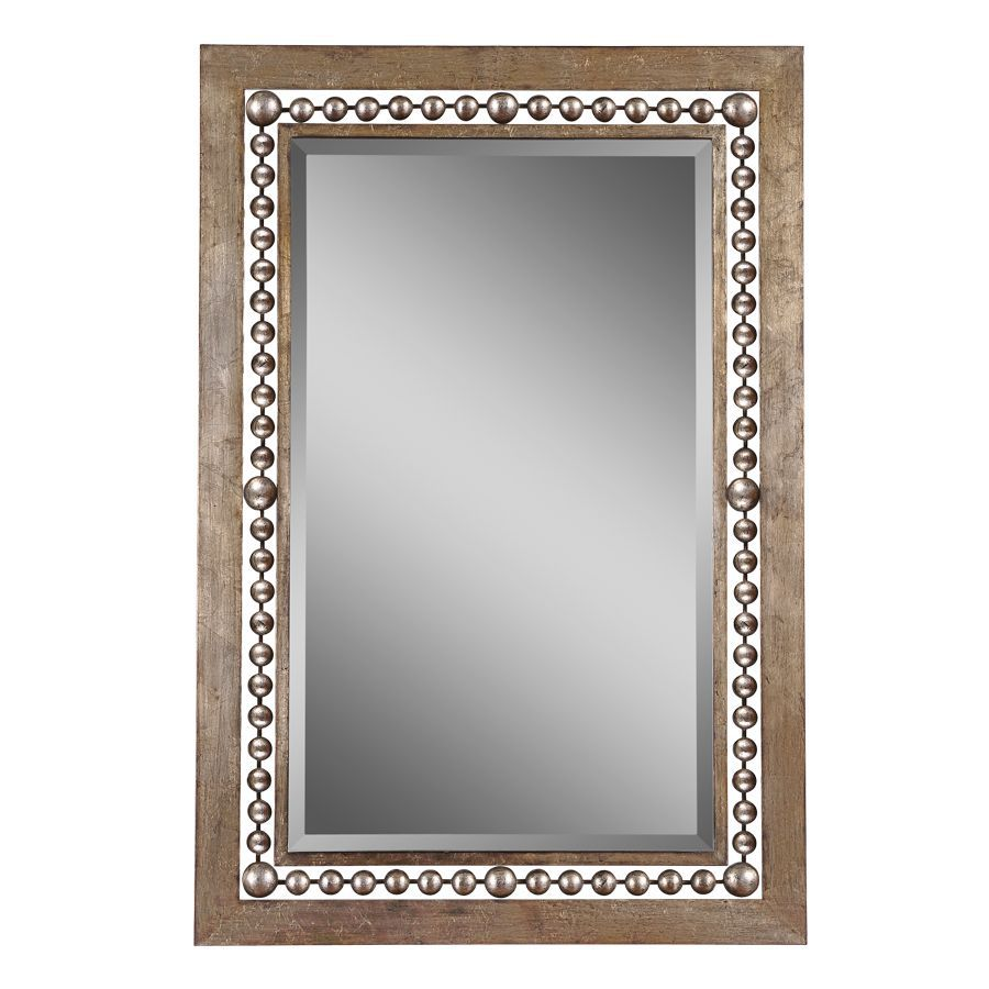 Global Direct 33.25-in x 49.25-in Antiqued Silver Leaf with Black Undertones Beveled Rectangle Framed French Wall Mirror