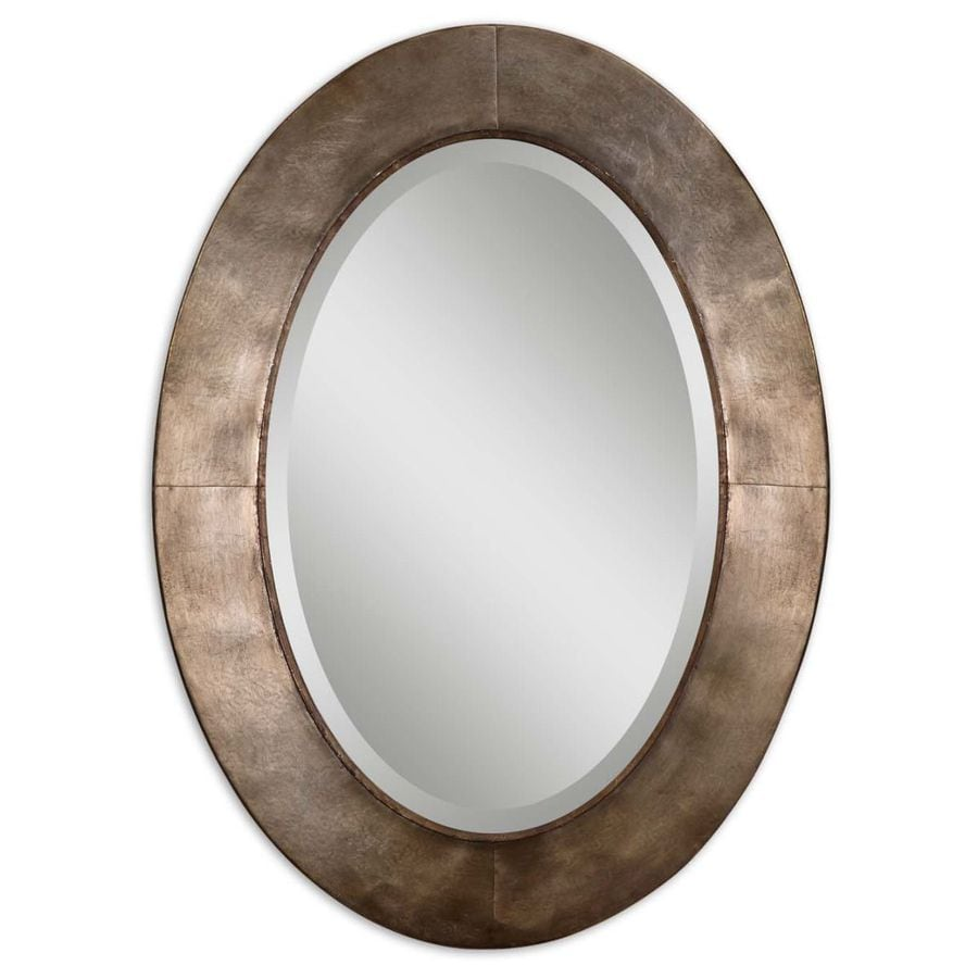 Global Direct 27.75-in x 37.625-in Champagne Beveled Oval Framed French Wall Mirror