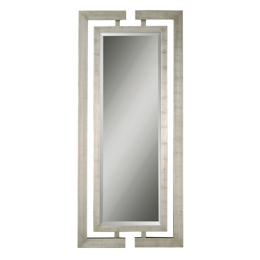Global Direct 34-in x 76-in Scratched Silver Leaf Beveled Rectangle Framed French Wall Mirror