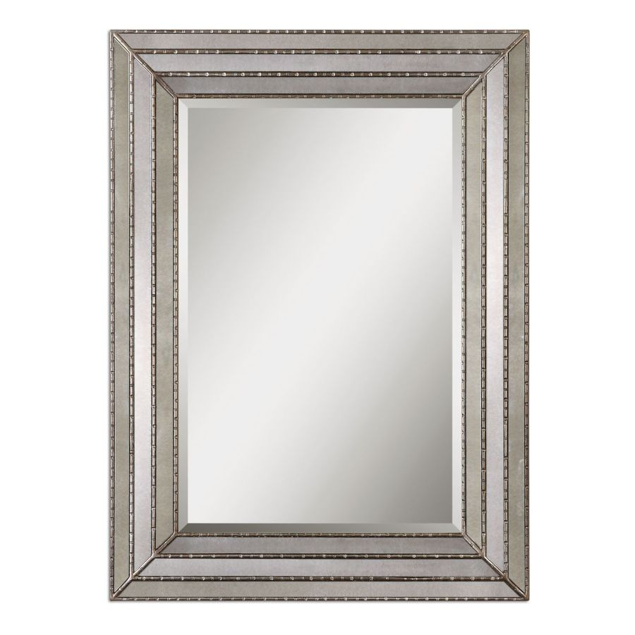 Global Direct 34.75-in x 46.75-in Burnished Silver Beveled Rectangle Framed French Wall Mirror