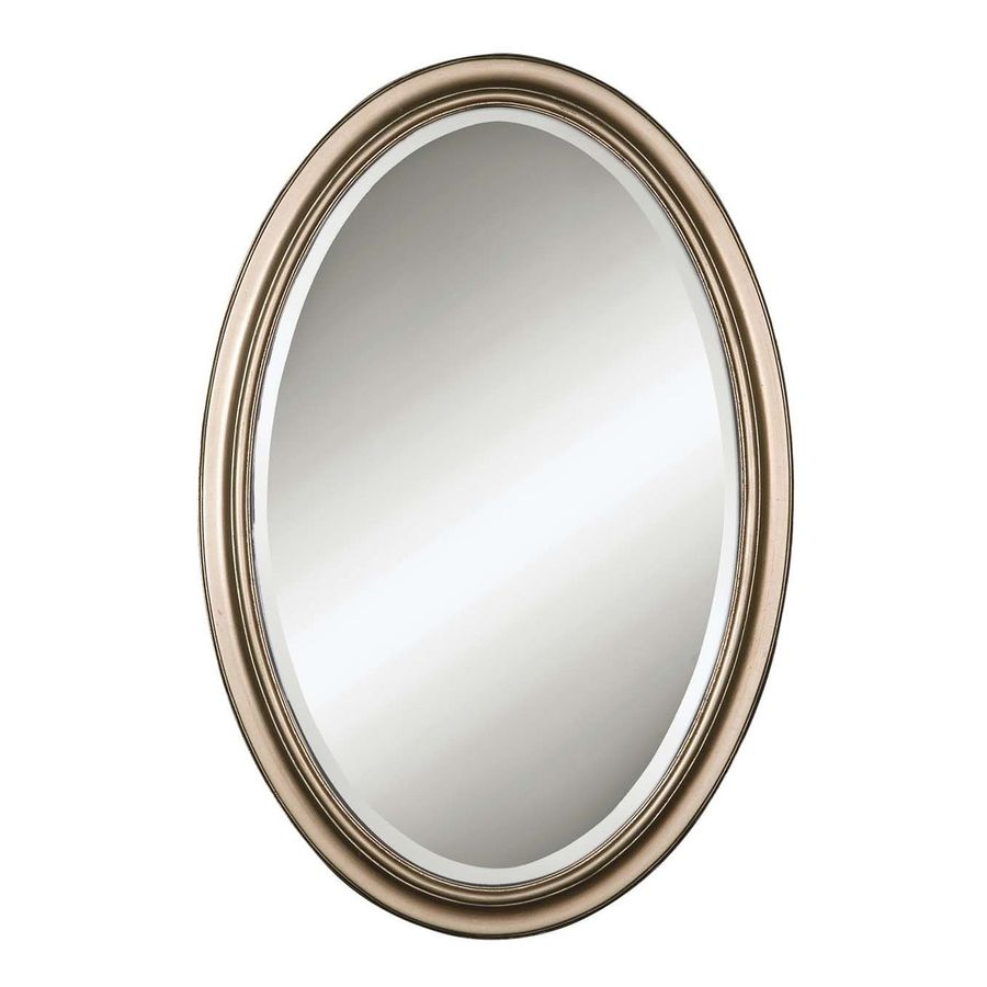 Global Direct 21.25-in x 31.25-in Champagne Silver Leaf Beveled Oval Framed French Wall Mirror