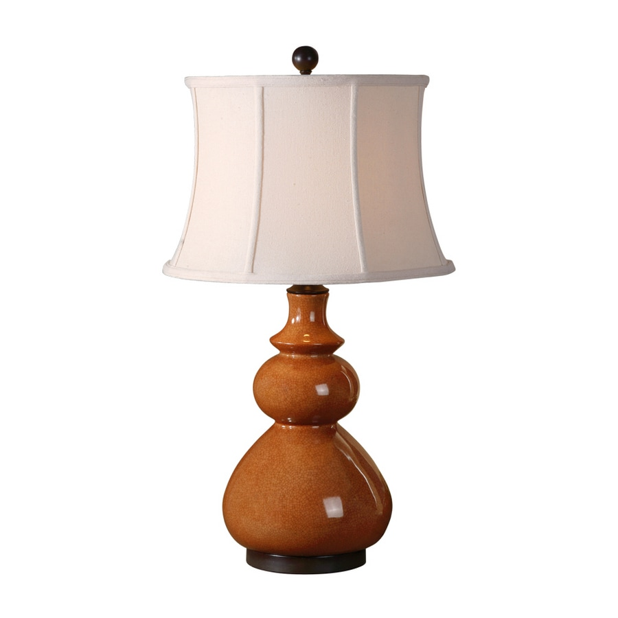 Global Direct 30.75-in 3-Way Tomato Red with Chocolate Bronze Details Indoor Table Lamp with Fabric Shade