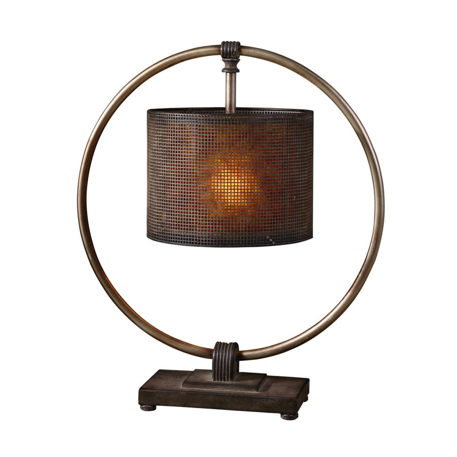 Global Direct 28-in Rustic, Dark Bronze Finish with A Rottenstone Glaze and An Antiqued Silver Ring Indoor Table Lamp with Glass Shade