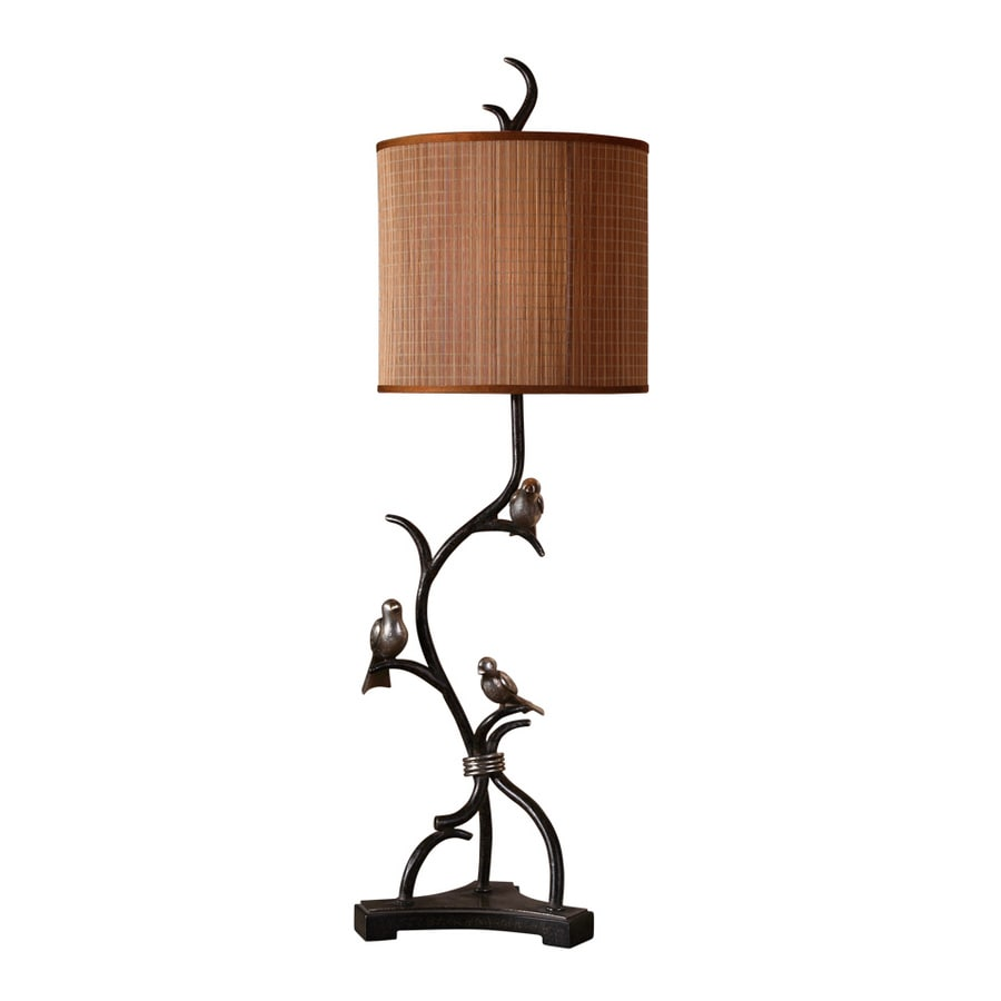 Global Direct 39-in 3-Way Metal Branches Finished In A Rustic Bronze with Heavily Antiqued Silver Details and Burnished Edges Indoor Table Lamp with Fabric Shade