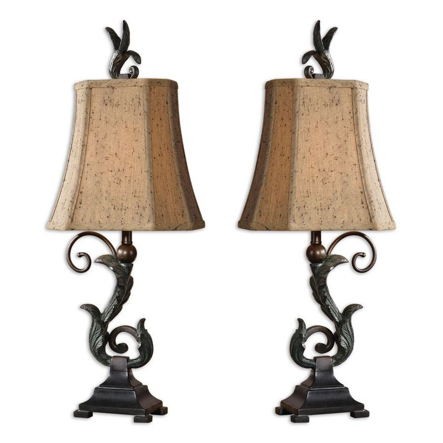 Global Direct 2-Piece Black Finish with Verdigris Wash Over Leaf Details Lamp Set with Fabric Shades