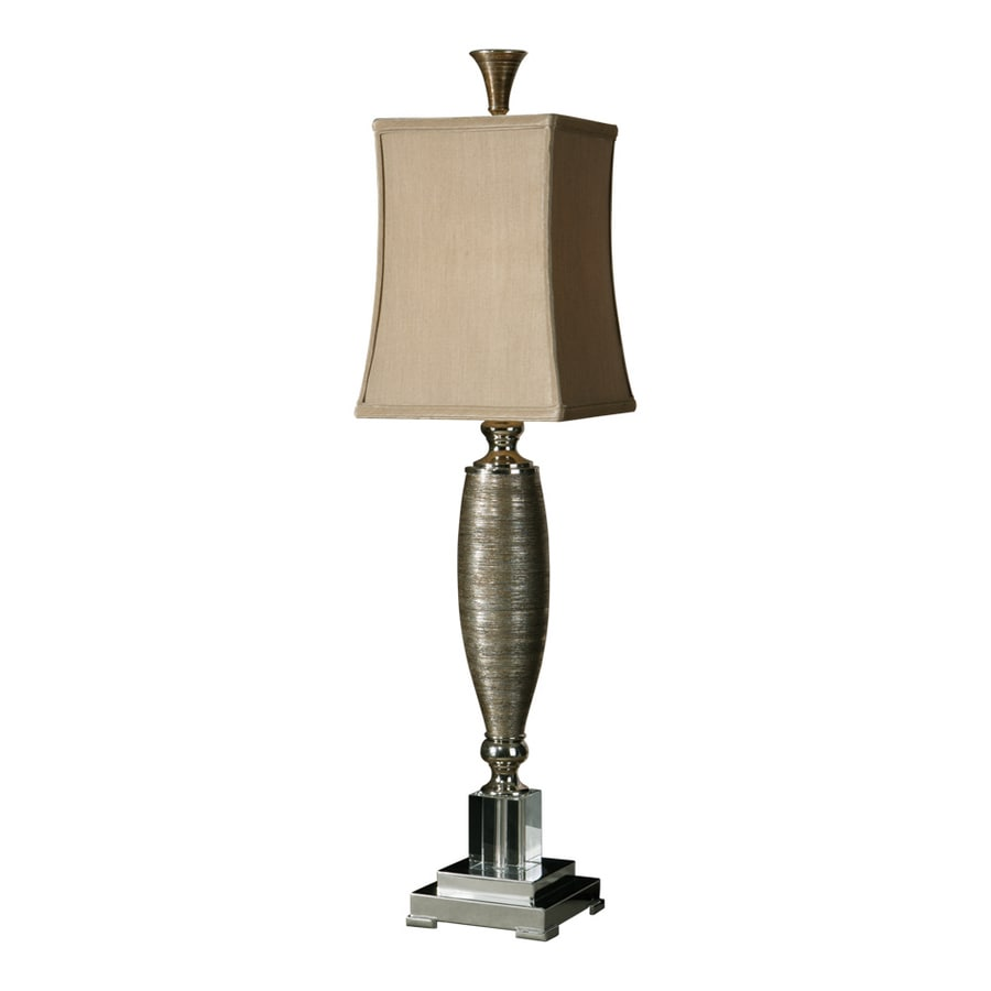 Global Direct 37-in 3-Way Metallic Gold Finish Over Textured Porcelain with Polished Chrome Metal and Crystal Accents Indoor Table Lamp with Fabric Shade