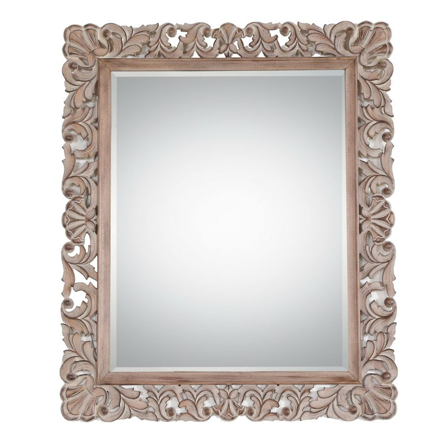 Style Selections 30.5-in x 36.5-in Specialty Driftwood Beveled Rectangle Framed French Wall Mirror