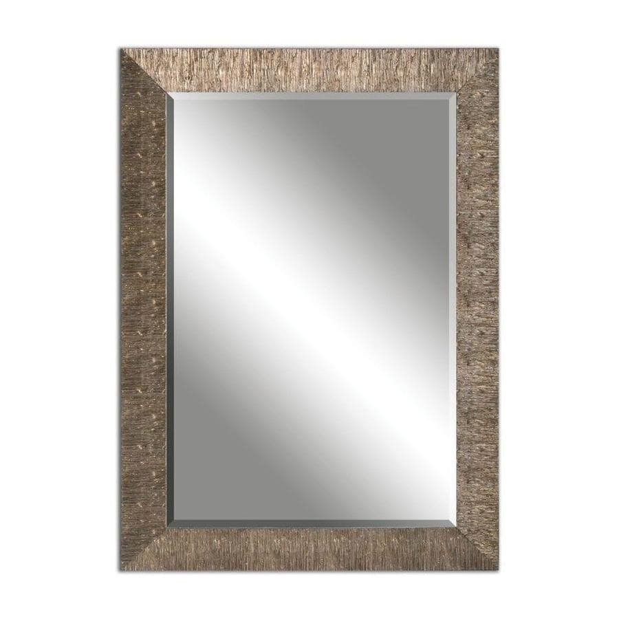 allen + roth 30.5-in x 42.5-in Golden Champagne Beveled Rectangle Framed French Wall Mirror