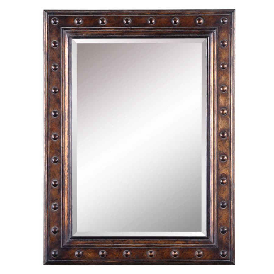 shop allen roth 30 in x 40 in bronze beveled rectangle framed french wall mirror at. Black Bedroom Furniture Sets. Home Design Ideas