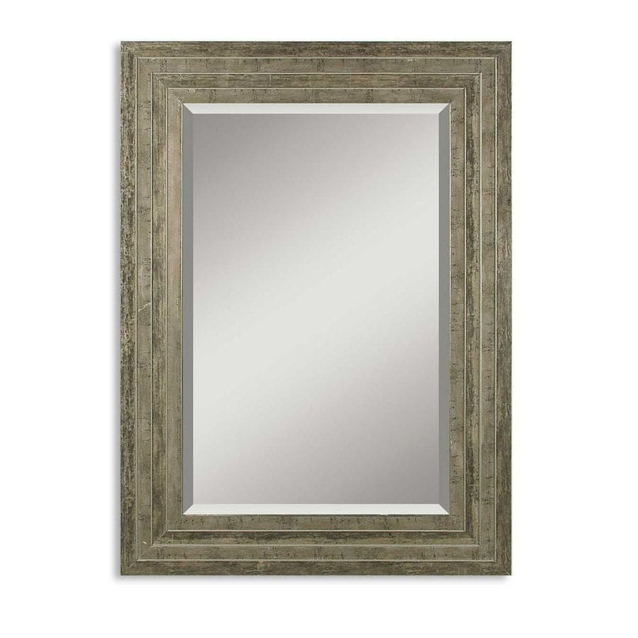 Global Direct 35.5-in x 25.5-in Distressed Silver Leaf with Black Undertones and Light Gray Glaze Beveled Rectangle Framed French Wall Mirror