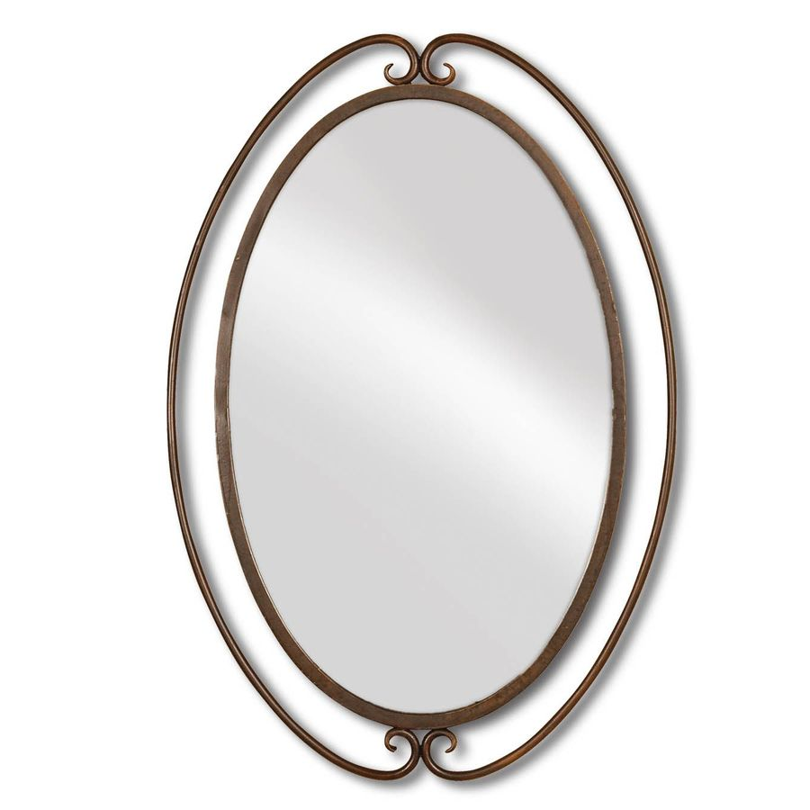 allen + roth 25-in x 36.125-in Brown Polished Oval Framed French Wall Mirror