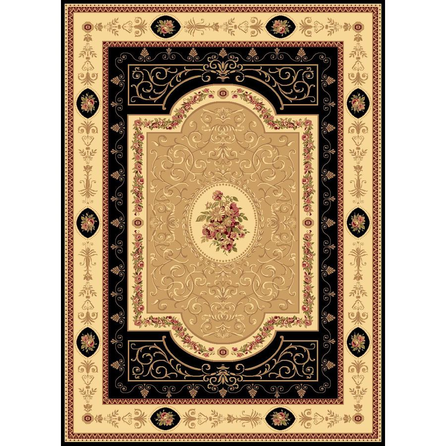 Rugs America New Vision French Aubusson Black Rectangular Indoor Woven Area Rug (Common: 5 x 8; Actual: 63-in W x 94-in L)