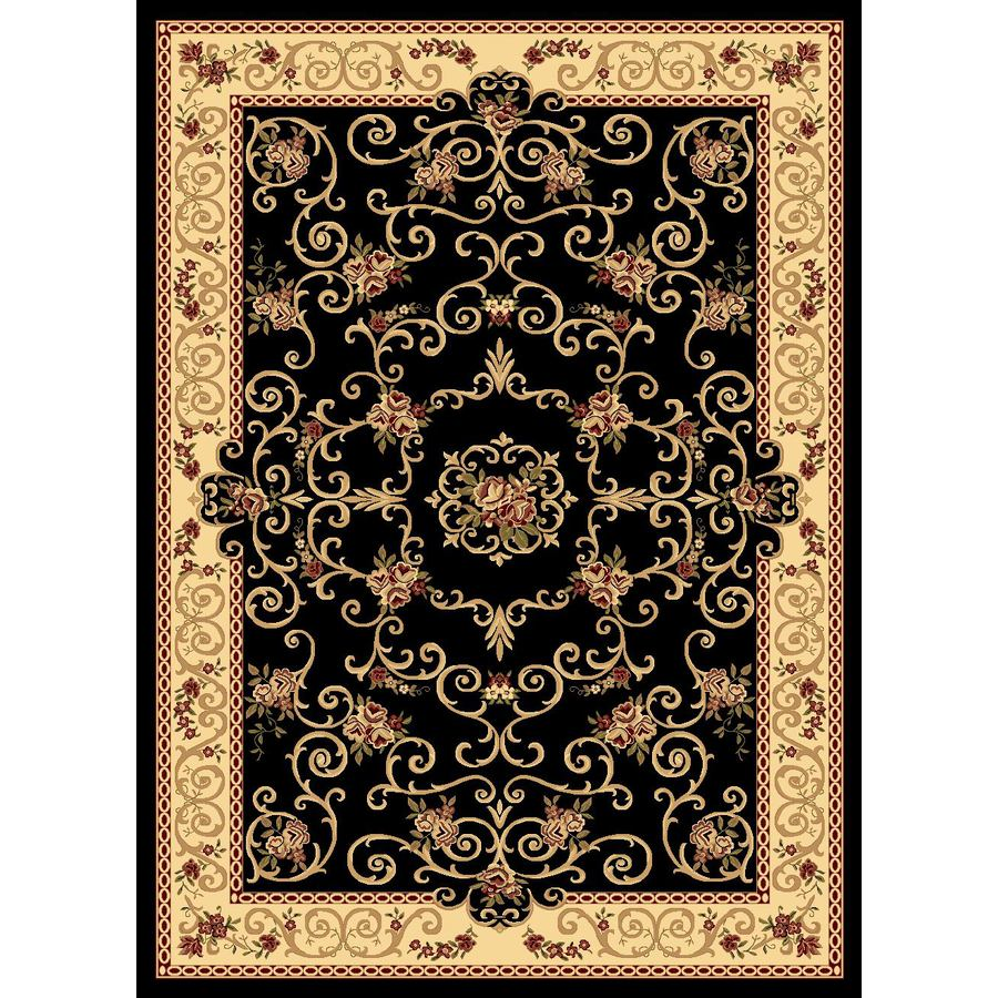 Rugs America New Vision Rectangular Black Floral Woven Area Rug (Common: 8-ft x 10-ft; Actual: 7.83-ft x 10.83-ft)