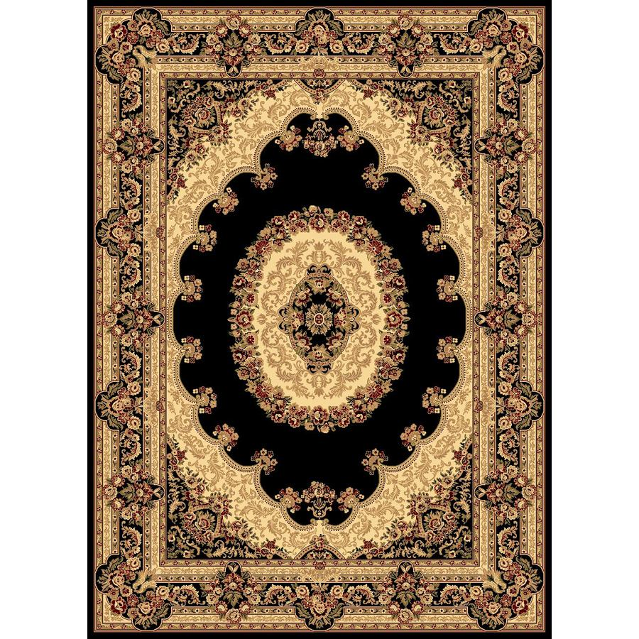 Rugs America New Vision Kerman Black Rectangular Indoor Woven Area Rug (Common: 8 x 10; Actual: 94-in W x 130-in L)