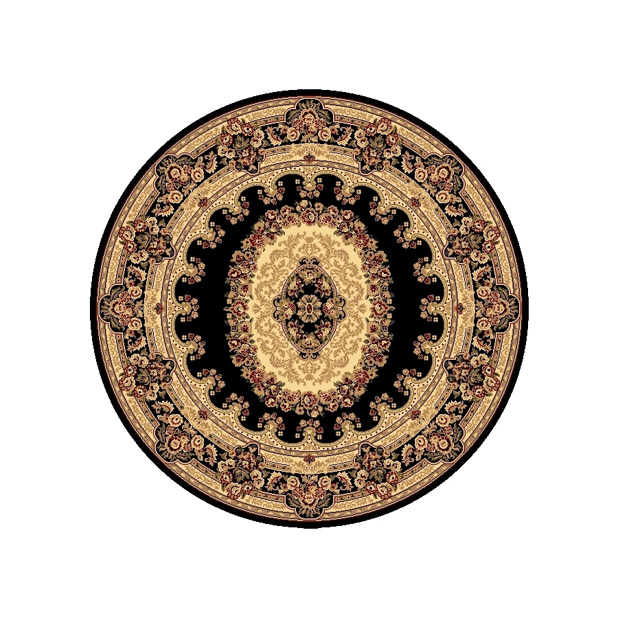 Rugs America New Vision Kerman Black Round Indoor Woven Area Rug (Actual: 5.25-ft Dia)