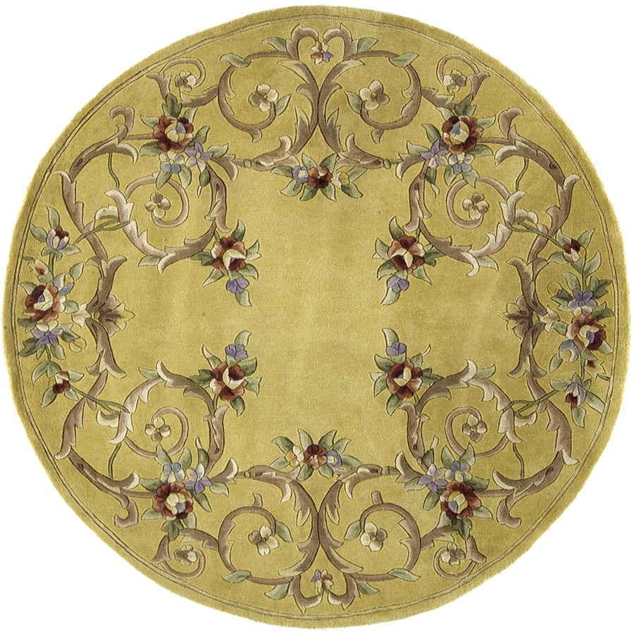 Rugs America Flora 6-ft x 6-ft Round Beige Floral Area Rug