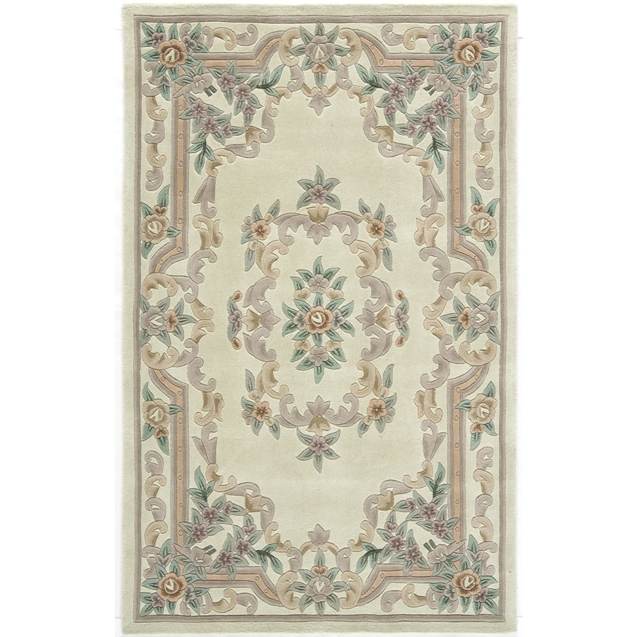Rugs America New Aubusson Ivory Rectangular Indoor Tufted Throw Rug (Common: 2 x 4; Actual: 24-in W x 48-in L)