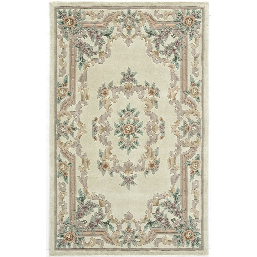 Rugs America New Aubusson Ivory Rectangular Indoor Tufted Area Rug (Common: 5 x 8; Actual: 60-in W x 96-in L)