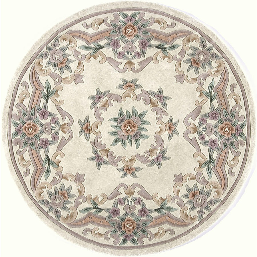 Shop Rugs America New Aubusson Ivory Round Indoor Tufted