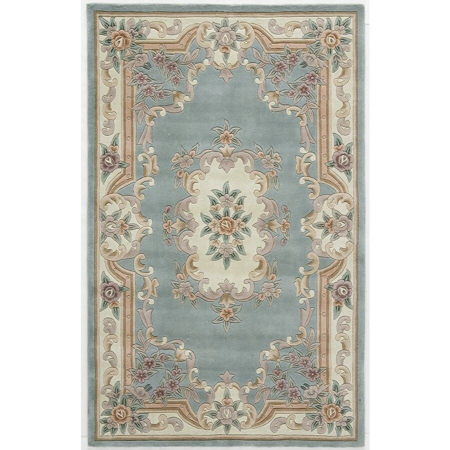 Rugs America New Aubusson Light Green Rectangular Indoor Tufted Area Rug (Common: 4 x 6; Actual: 48-in W x 72-in L)