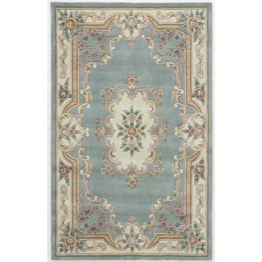 Rugs America New Aubusson Light Green Rectangular Indoor Tufted Area Rug (Common: 5 x 8; Actual: 60-in W x 96-in L)