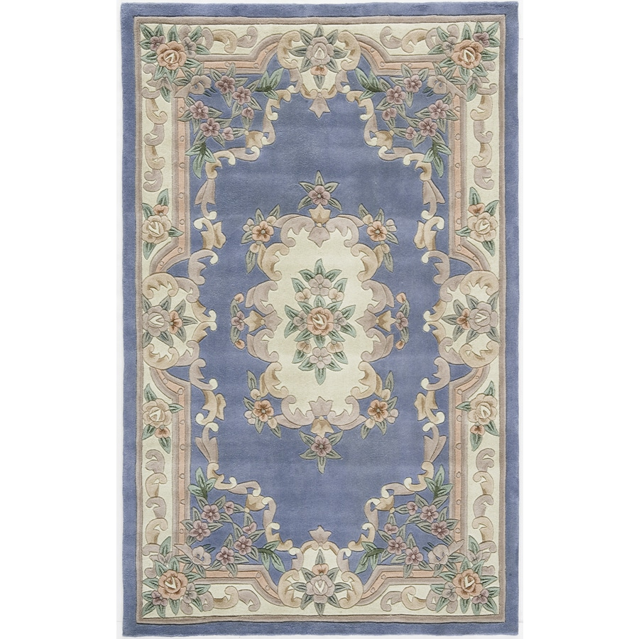 Rugs America New Aubusson Light Blue Rectangular Indoor Tufted Area Rug (Common: 8 x 11; Actual: 96-in W x 132-in L)