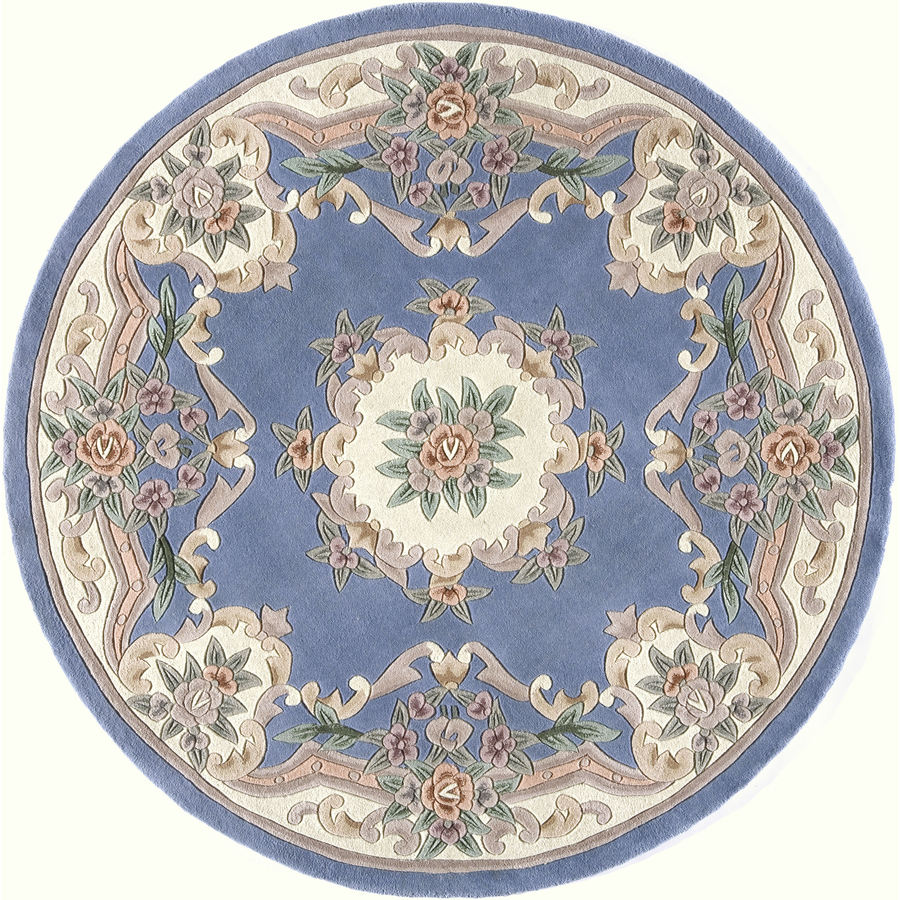 Shop Rugs America New Aubusson Light Blue Round Indoor ...
