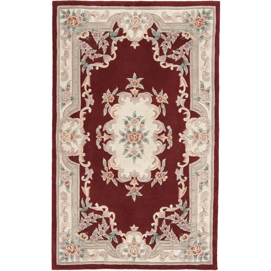 Rugs America New Aubusson Burgundy Rectangular Indoor Tufted Area Rug (Common: 8 x 11; Actual: 96-in W x 132-in L)