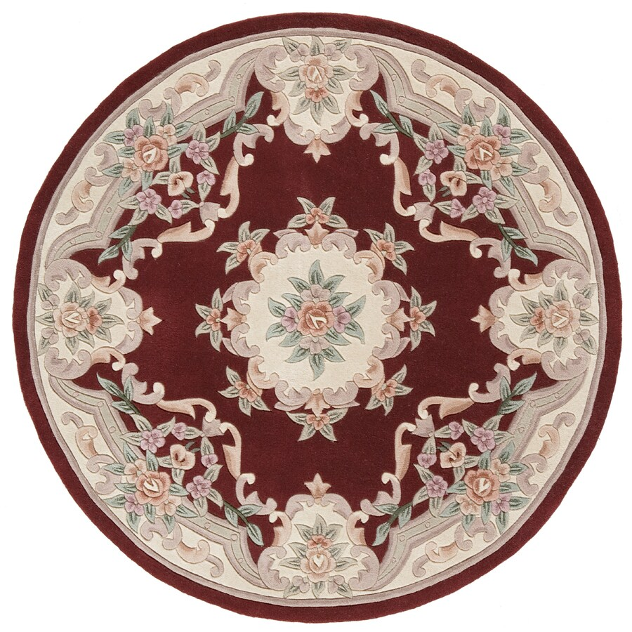 Rugs America New Aubusson Burgundy Round Indoor Tufted Area Rug (Actual: 6-ft Dia)